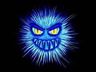 Virus blau auf schwarz