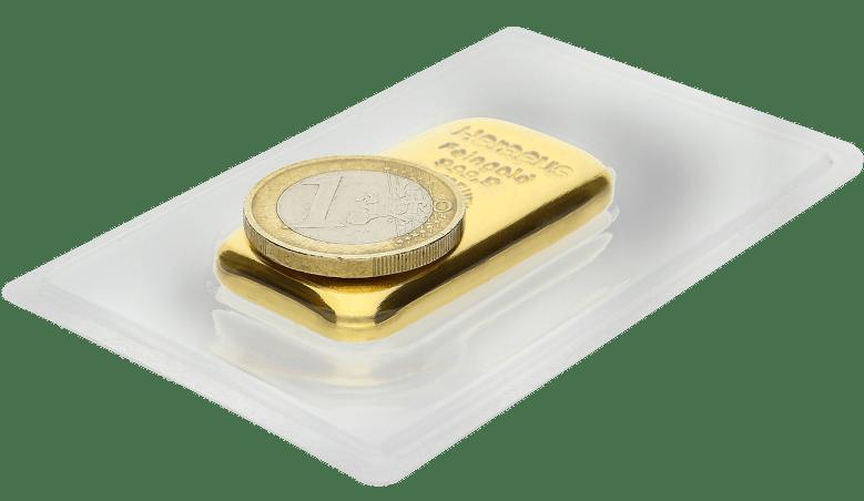100g Gold Vergleich Größe 1€ Münze